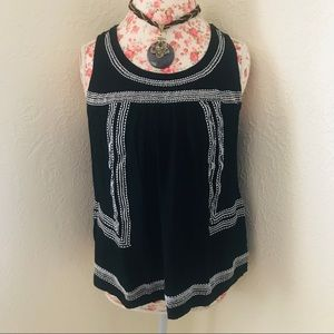 Maurices Black & White Embroidered Tank
